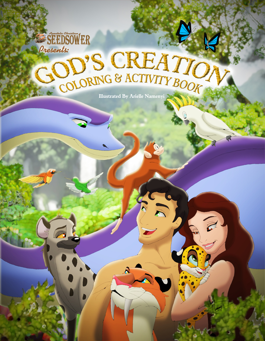 Gods Creation Coloring Book Cover By AN ChristianComics