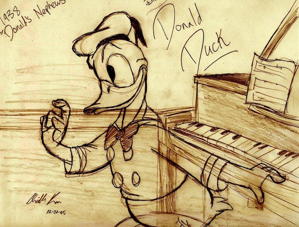 Donald Duck Piano Sketch by AN-ChristianComics