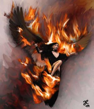 Demon girl on fire