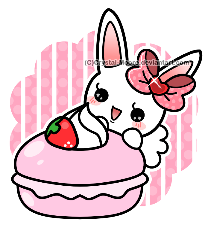 Strawberry Macaron Bunny by Crystal-Moore