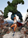 Powergirl - Unlimited - preview (PG vs The Hulk)