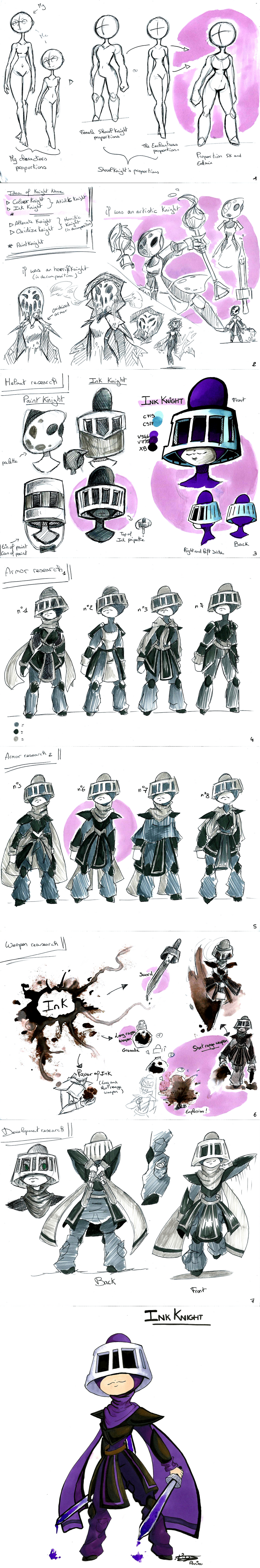 Character design development - Ink Knight