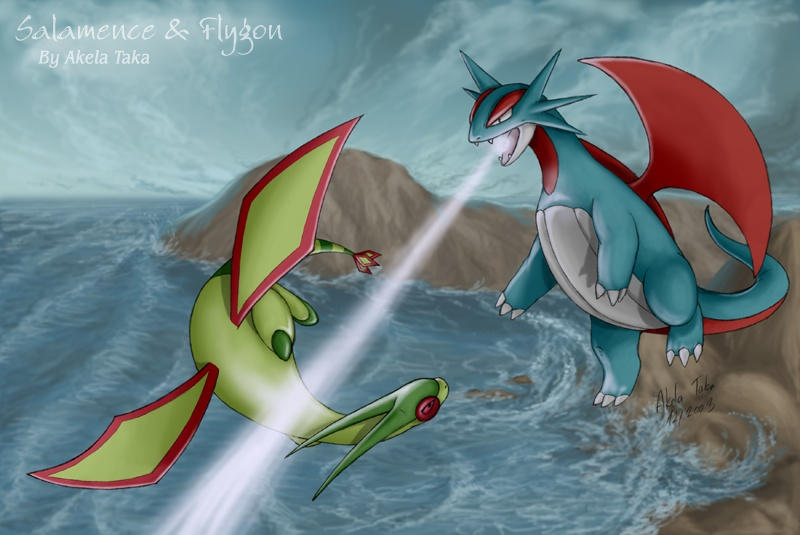 Salamence And Flygon by akelataka on DeviantArt
