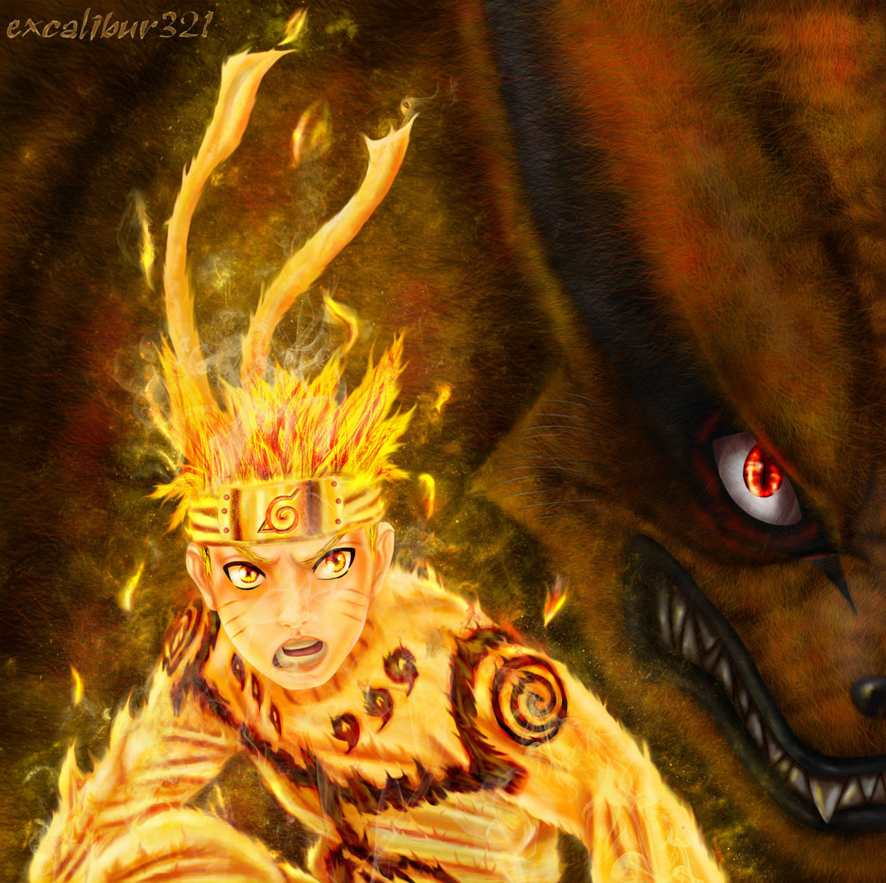 Naruto and Kurama by excalibur321