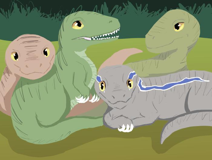 Baby Raptor Squad by darkangel1236