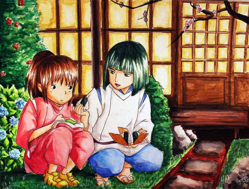 Spirited Away: Eating Onigiri by Pyonni