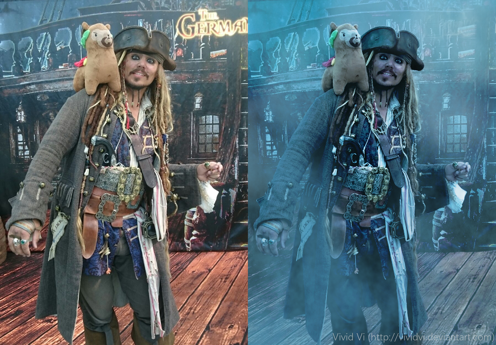Before/After: Malepaca and Captain Jack Sparrow by VividVi