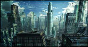 Future cityscape.