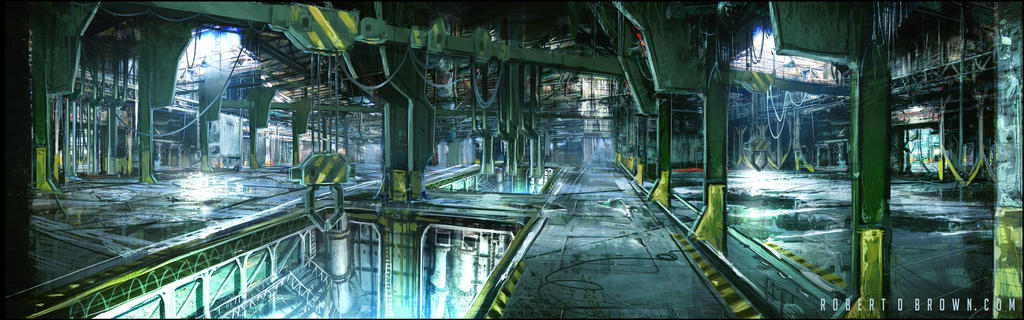 Game level concept art warehouse. by RobertDBrown