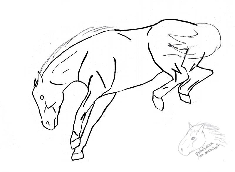 bucking horse lineart by peachesrox on deviantart bucking horse drawing