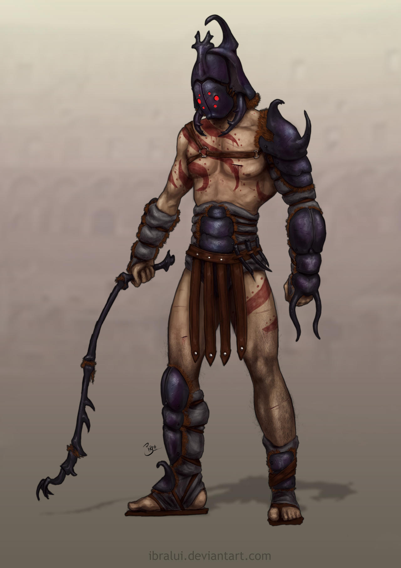 Character Design Challenge Gladiator : The gladiator beetle character concept by ibralui on