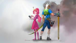 Finn and Princess Bubblegum -wallpaper