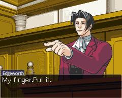 Edgeworth's finger by RavenNoodle