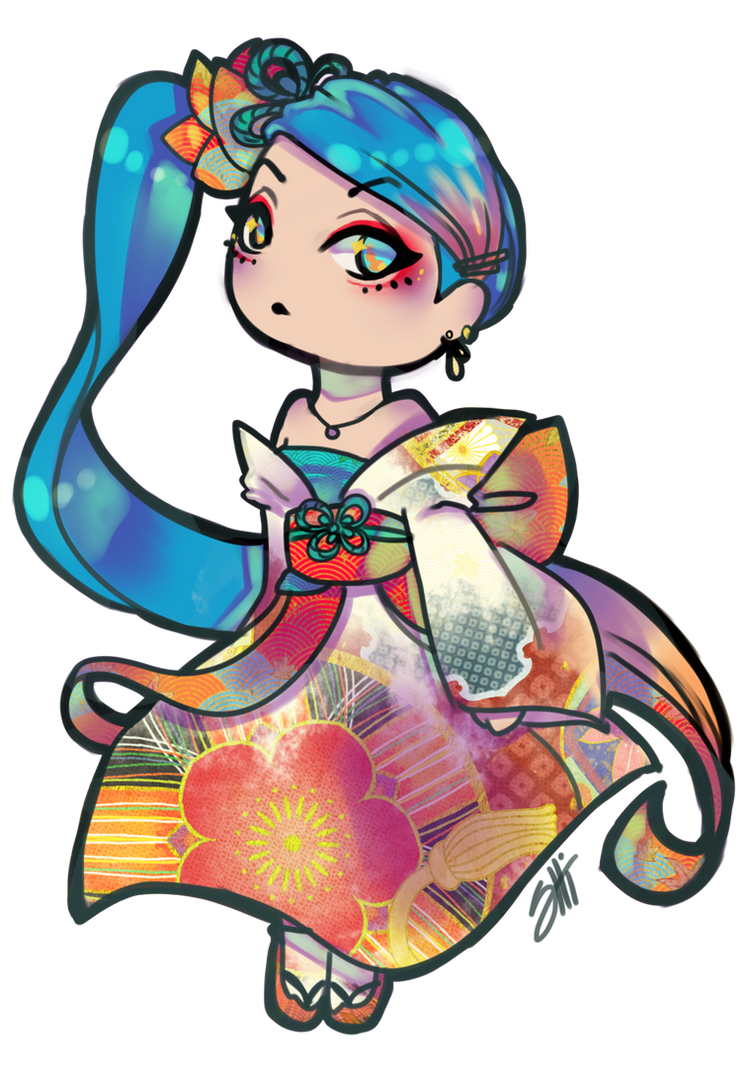 Sona Chibi ready for battle by RavenNoodle