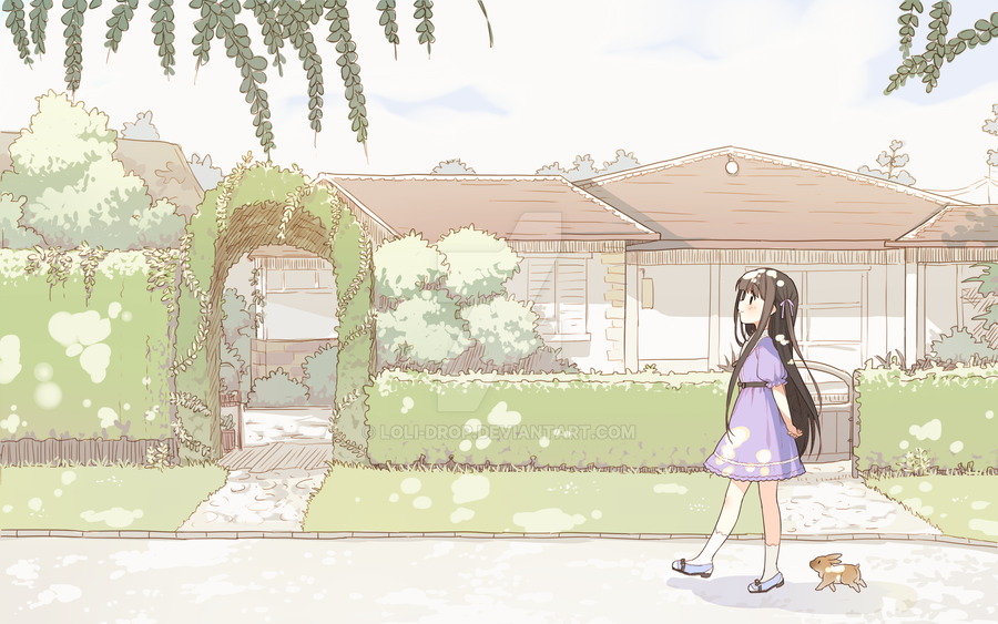 Walking with Rabbit by loli-drop