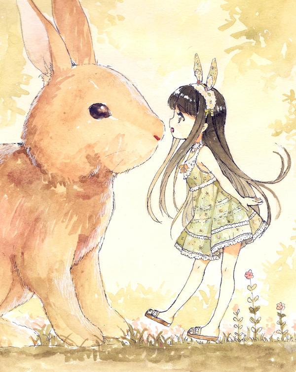Rabbit meet Girl by loli-drop