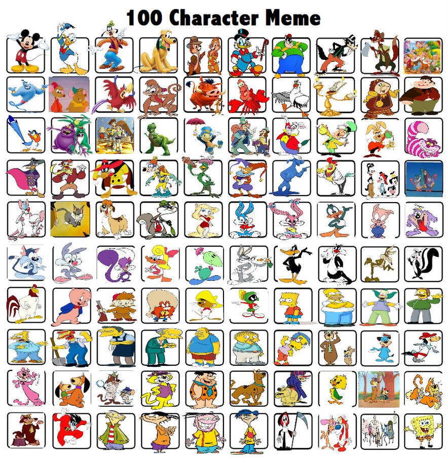 Cartoon Characters 2 100 Pics : Characters meme by bart toons on deviantart