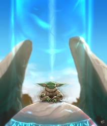 Grogu in the jedi stone
