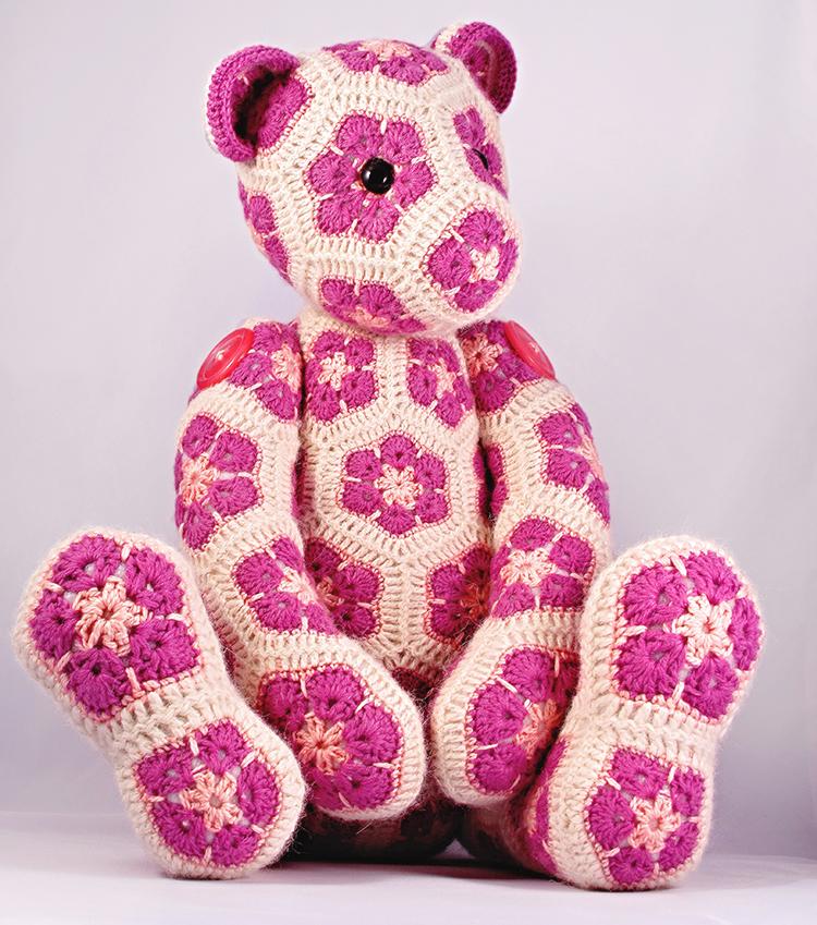 Lollo the African Flower Hexagon Teddy Bear by HeidiBears