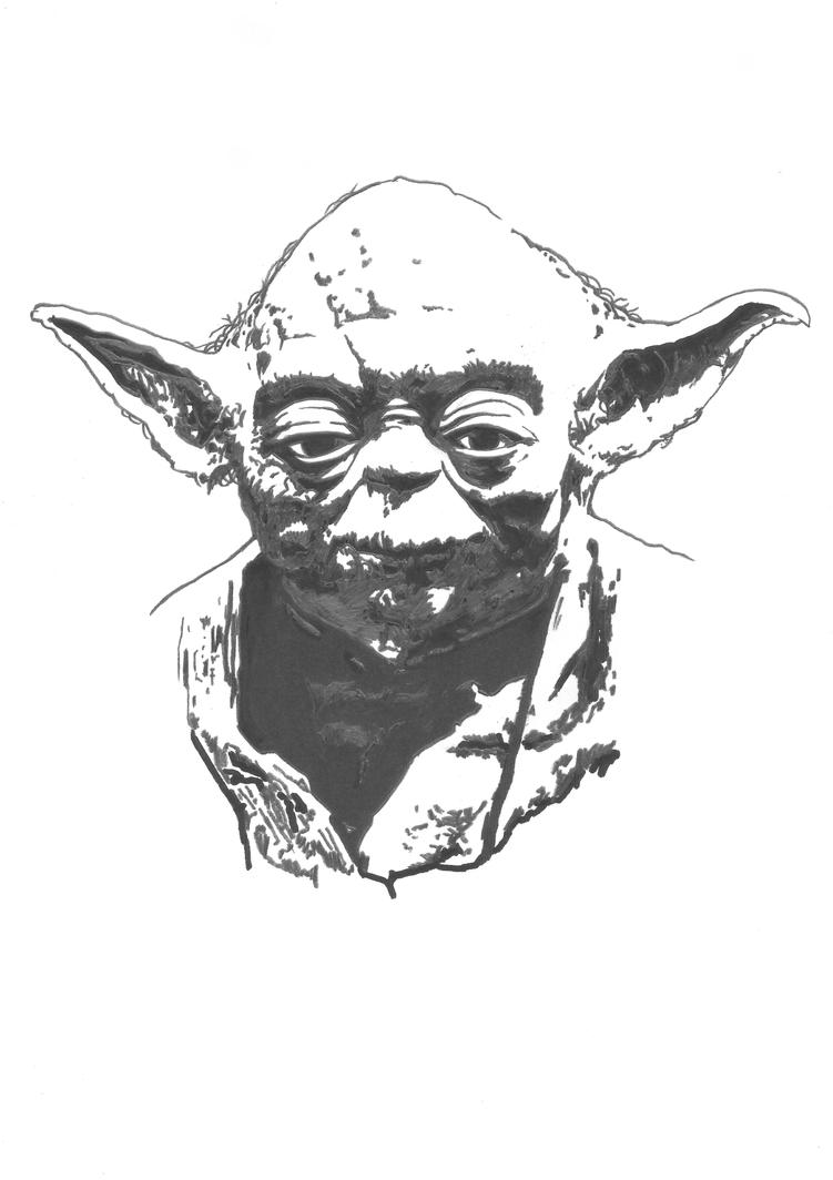 how to draw a simple yoda face