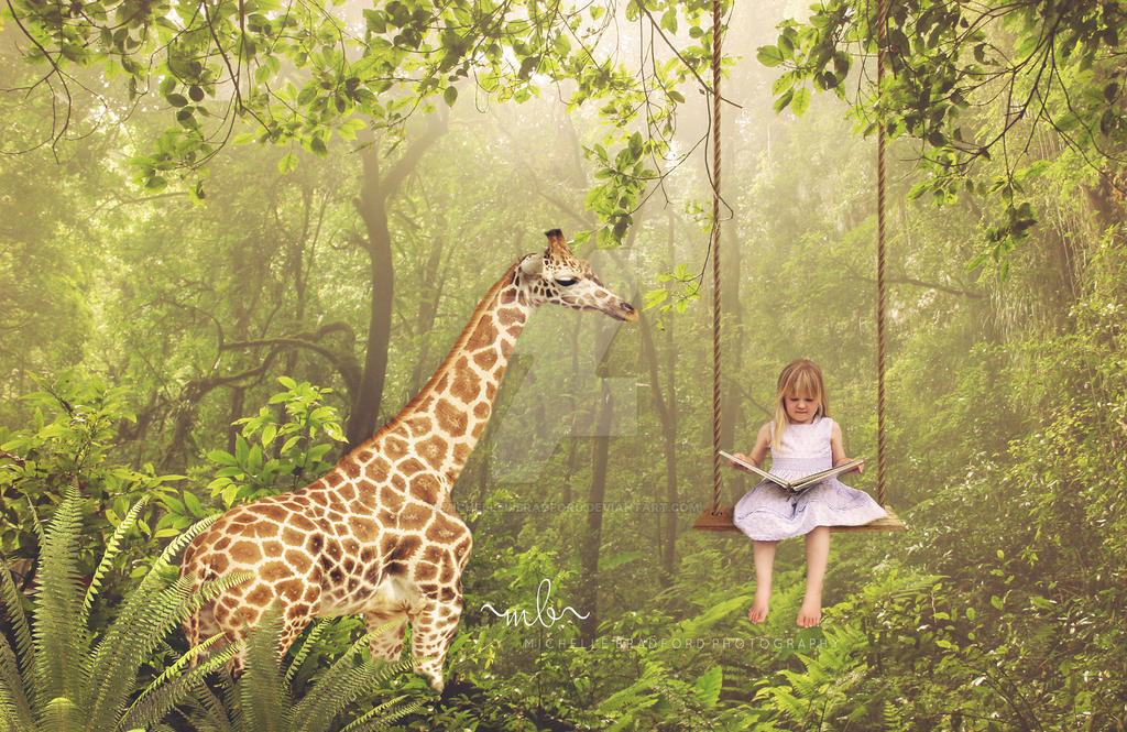 Giraffe In Forest With Little Girl On Swingfb2 by MichellewBradford