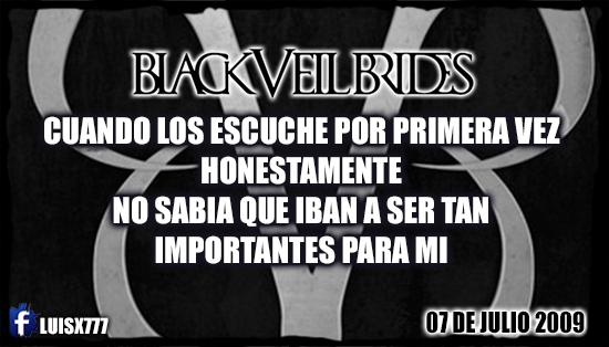 BLACK VEIL BRIDES LUISX777 FAN NO.1 by luisx777