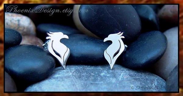 Phoenix Earrings in Sterling Silver by StephaniePride