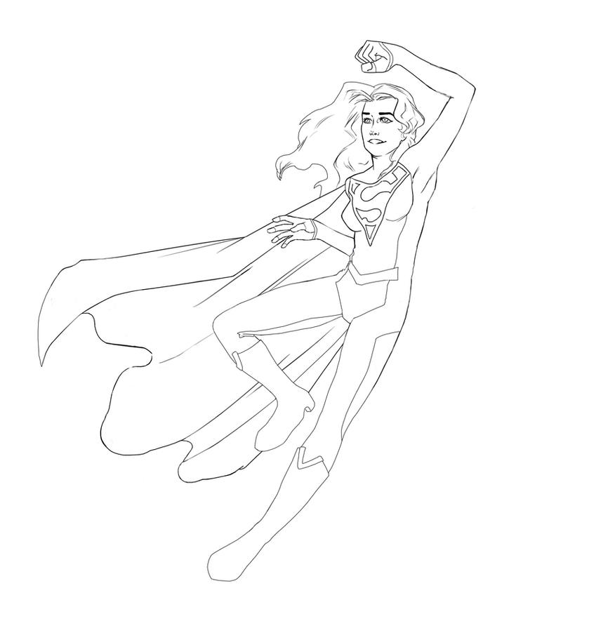Supergirl Lineart by aileri
