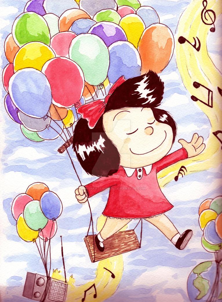Mafalda in watercolor by MANGAKATENCHIGU