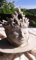 baby krishna ceramic vase