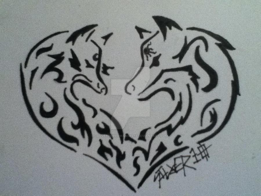 Tribal Heart Wolf Drawings