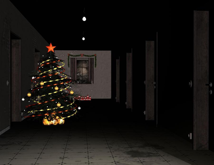 Dark corridor with xmas tree by Ecathe