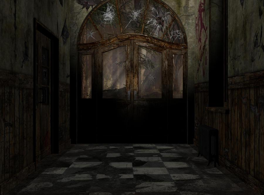 abandoned asylum entrance 0244