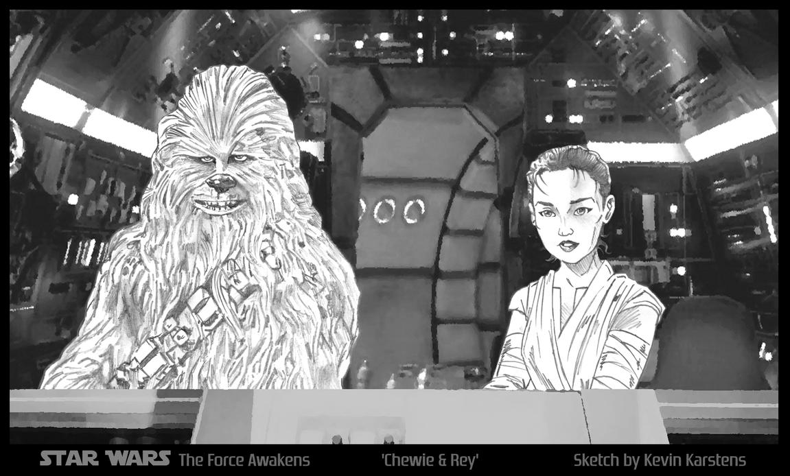 Force Awakens - Chewie and Rey by karcreat