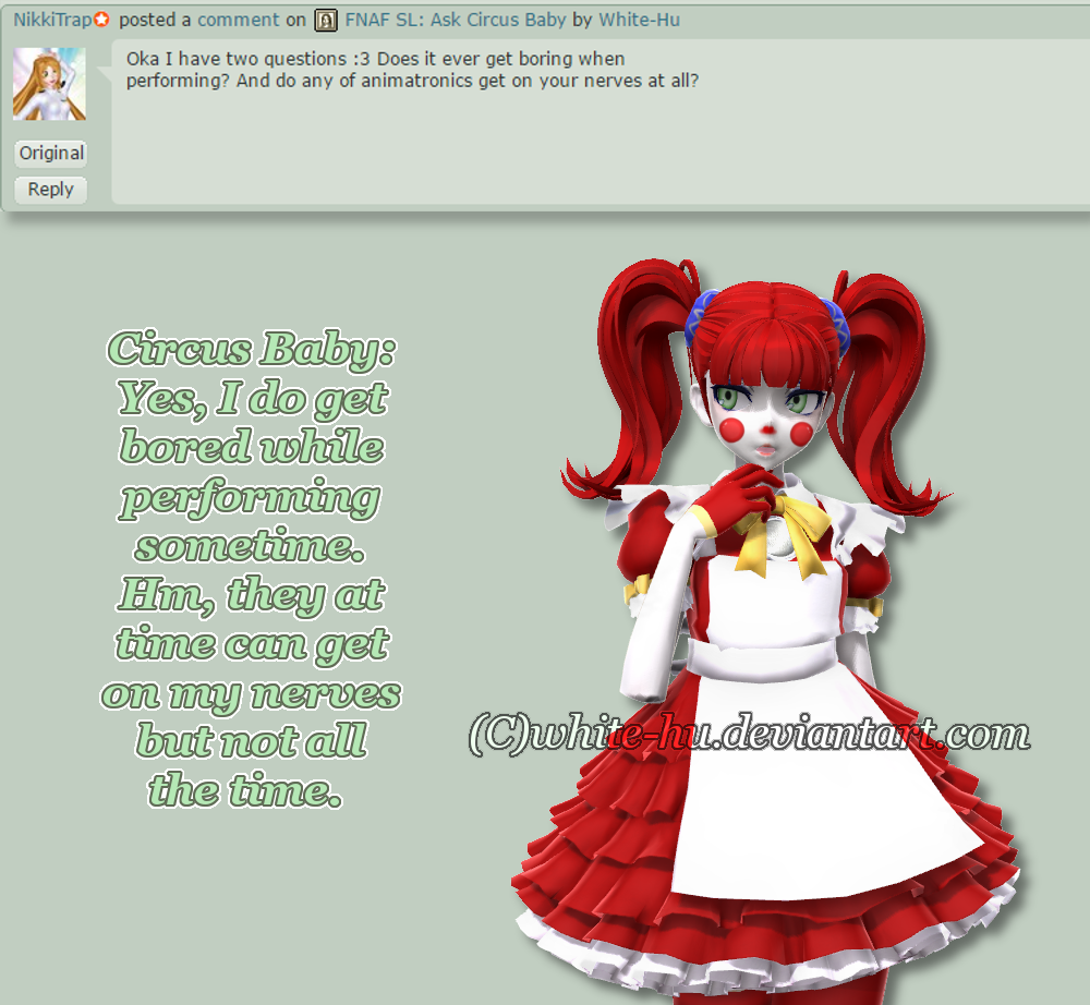 Fnaf Sl Circus Baby Question 3 By White Hu On Deviantart
