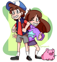 Pines twins... And Waddles by galienyancats