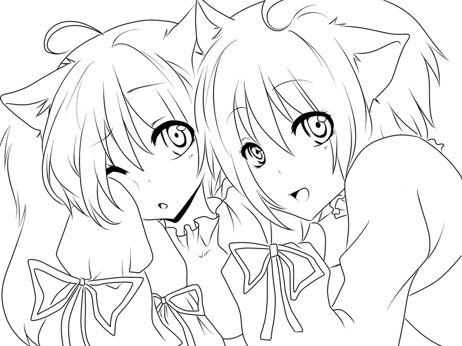Anime Twins Colouring Pages Sketch Coloring Page