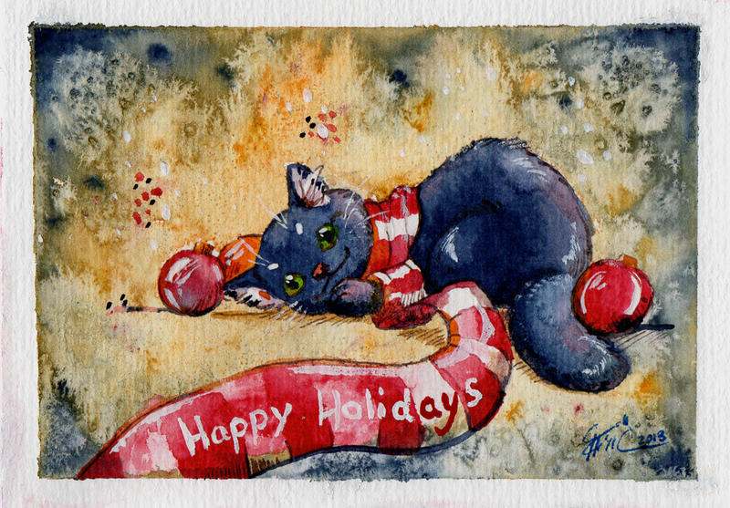 happy cat - holiday card project by Karrakas