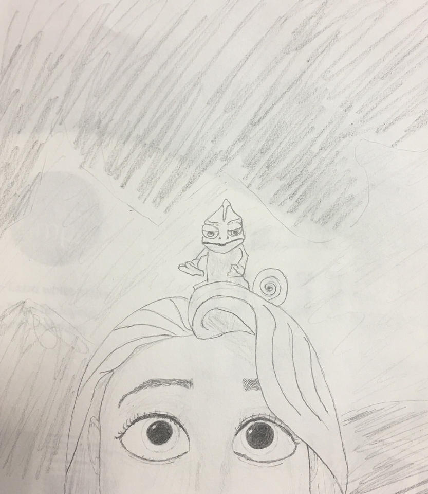 Rapunzel and Pascal by swgunn