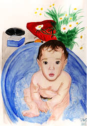 Baby on bath by pedro-amaral-couto