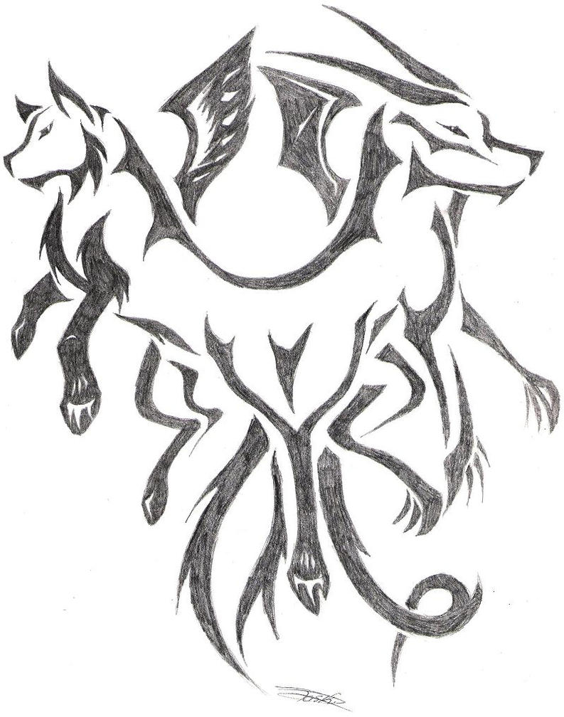 Dragonwolf Tattoo By Sewreel Secured Internet Browser Byodoodo Icedragon How  To Draw A Wolf: