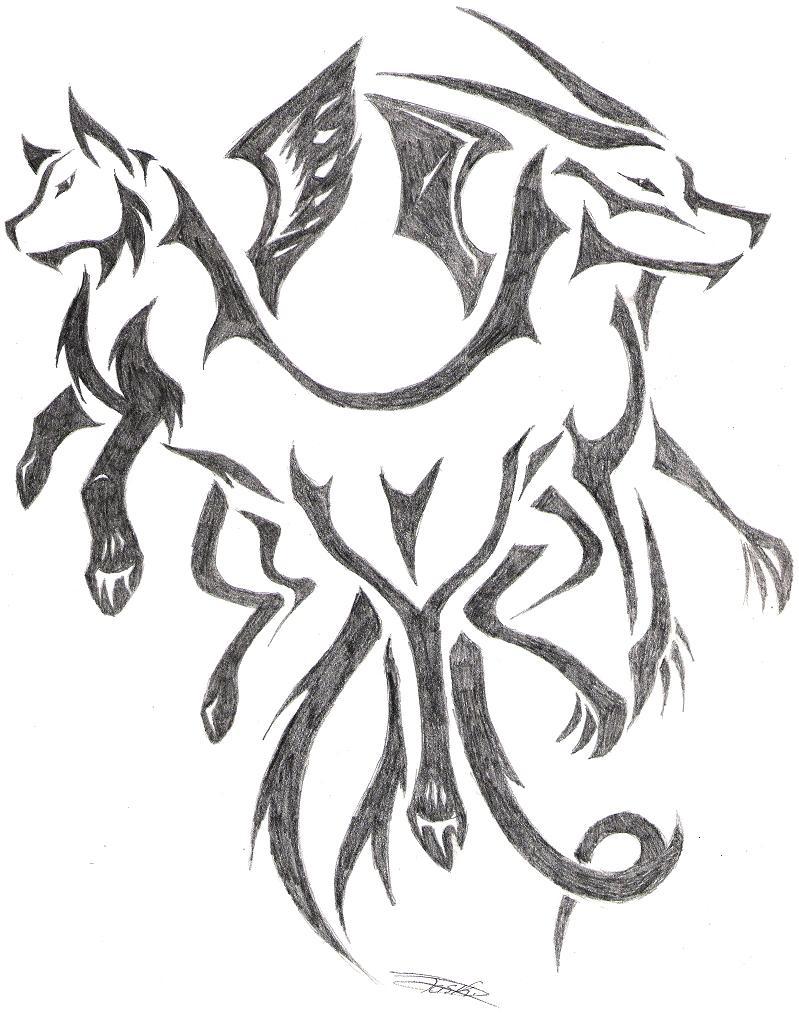 dragon wolf tattoo by sewreel on deviantart. Black Bedroom Furniture Sets. Home Design Ideas