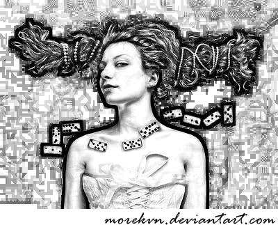 Black Lady Smooch 4 Domino by morekvn