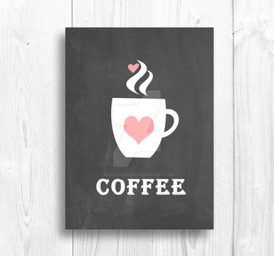 Coffee Love White Wood by Thelildesigns