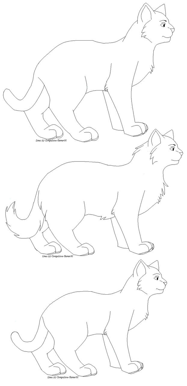 Warriors cat bases by That- Sad Warrior Cat Outlines
