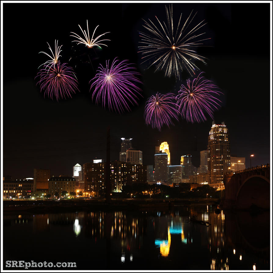 Fireworks over Minneapolis by SREphoto