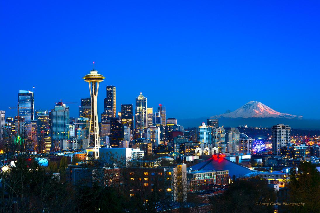 Seattle Skyline with Mount Rainier 2014 by LarryGorlin
