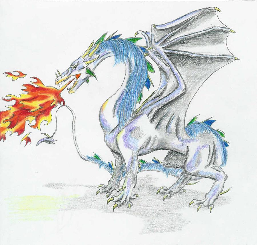 Dragon Breathing Fire Drawing in Color Fire Breathing Dragon
