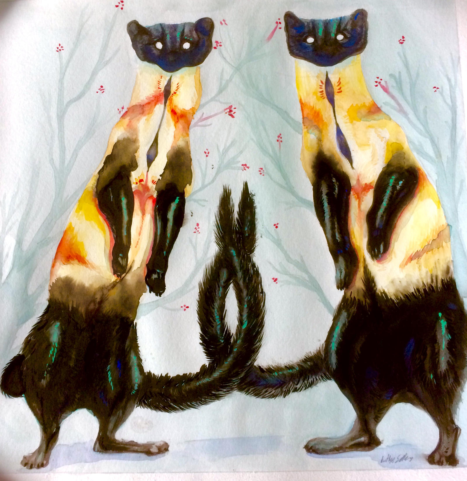 Watercolor Martens by Quadrupedal
