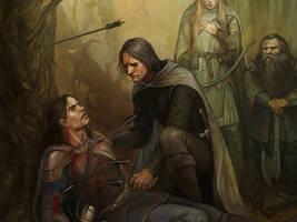 The Death of Boromir by Gellihana-art